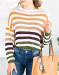 MIROL Women's Fall Rainbow Color Block Striped Off Shoulder Knit Pullover Sweater Loose Fit Tops,50% off