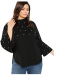ROMWE Women's Plus Elegant Pearls Beaded Long Sleeve Blouse Top,70% off